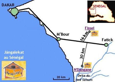 Carte des actions de Jángalekat au Sénégal